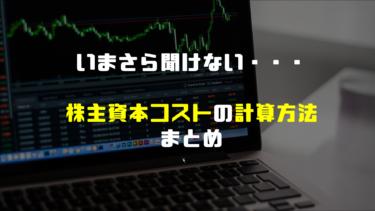 今さら聞けない株主資本コストとは。計算方法について解説